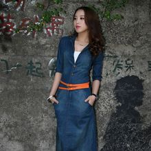 ZH0602L British style hot sale fancy long sleeve maxi women denim jeans casaul dress