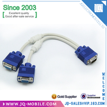 Chinese Factory pries computer HDTV use VGA cable 1 male to 2 female ferrite core VGA cable