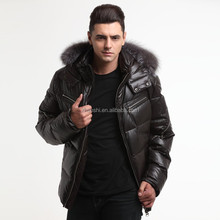 2015 OEM Fashion Western Winter Shiny Leather Down Bomber Jackets Mens
