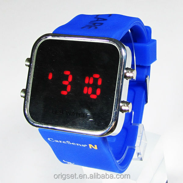 LED flashing mirror led watch custom logo printed silicone LED watch fashion led watches with mirror dial