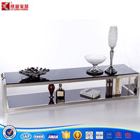 Fashion black stainless steel TV stand