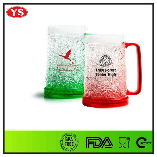 Bpa free 16 ounce double wall plastic beer mugs promotional with gel inside