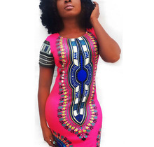 Short-sleeves Bohemian Summer Dress Woman Traditional African Print Dashiki Bodycon Dress