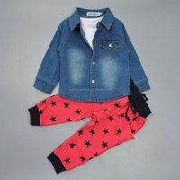 Boys 3 Pieces Long-sleeved Jeans Jacket +White Vest+Red pant Outfit Suit Clothes