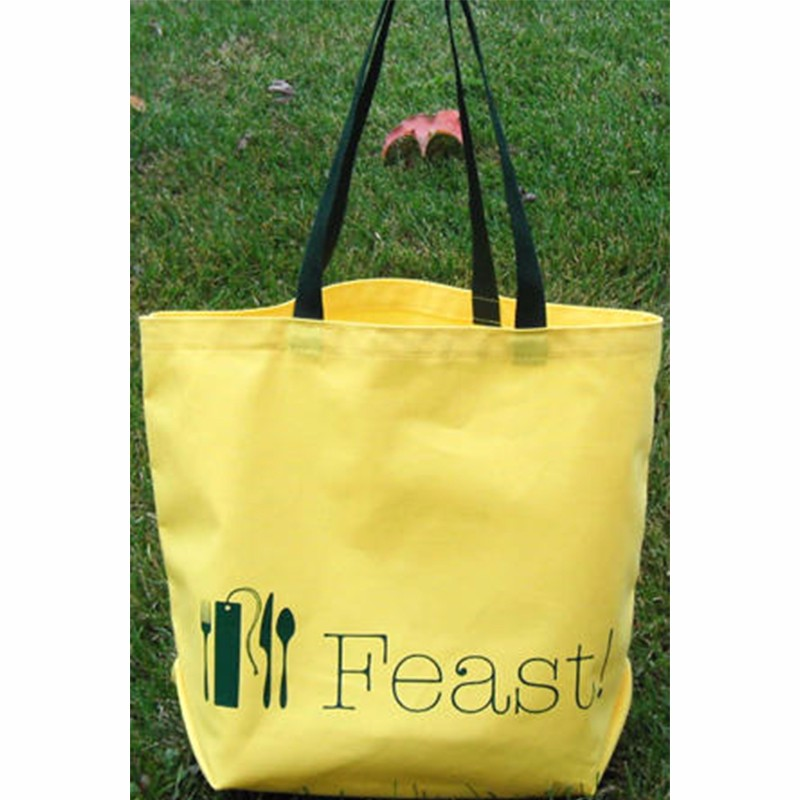 off yellow black handle cotton tote bag wholesale