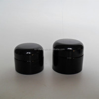 New product black cream glass jar with screw top lid black ABS lid