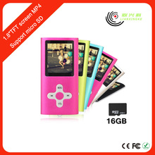 "8GB Slim Digital MP3 MP4 Player with 1.8"" LCD Screen FM Radio Video Movie manual"