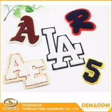 Wholesale clothes patches embroidered custom leatter design soft towel chenille patches letters