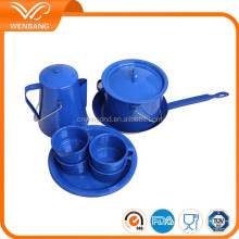 Enamel camping carbon steel blue enamel pans kitchen cookware casseroles set