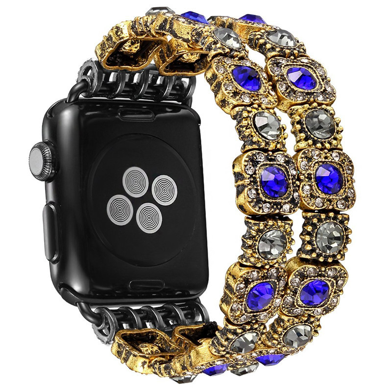 Vintage Faux Crystal stone Strap Replacement for iWatch Strap Women