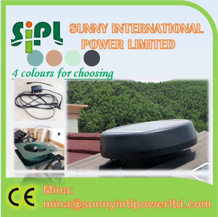 solar power vent kits solar AC/DC Adapter electricity back up 24 hours working air conditioning attic roof exhaust fan
