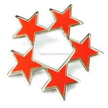 Wholesale Customized Cheap Five Star Lapel Pins Metal Hard Enamel Red Star Badge No Minimum