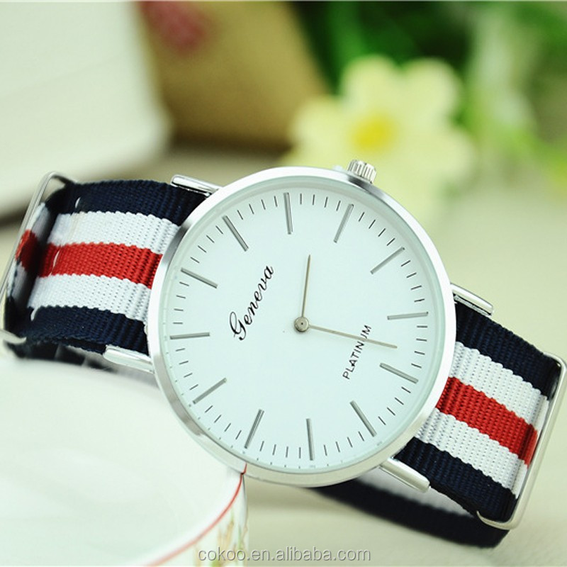 2015 new fashion mens&women dress nylon wrist watch relojes with high quality and cheap price OEM