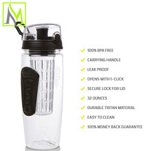 alibaba express fruit infuser water bottle With infuser tube filter inside china