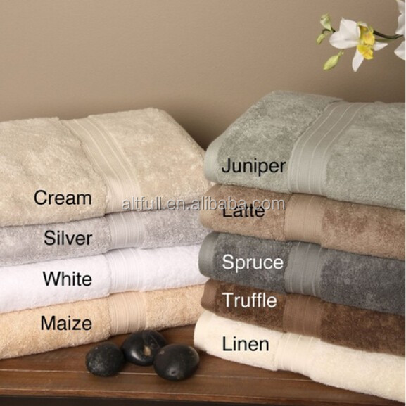 Luxury 100% bamboo fiber high quality absorbent bath towel set with dobby border
