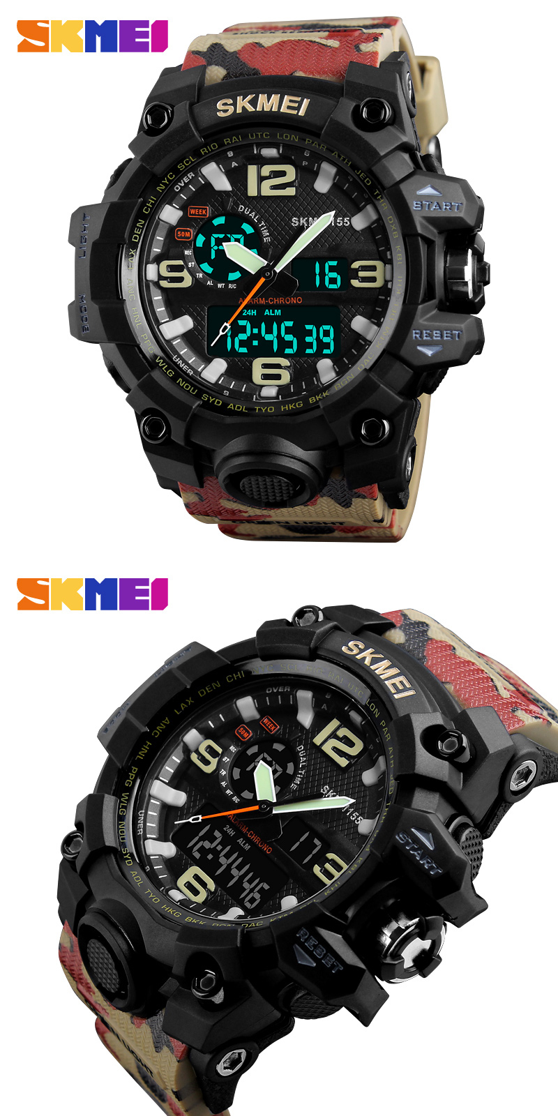 SKMEI 1155 Fashion LED Display Sport Men Digital Watches Quartz Watch Relogio Masculino 50M Waterproof Dual Display Wristwatches
