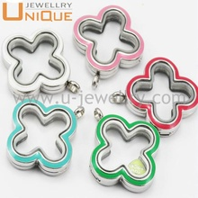 Wholesale four leaf flower design stainless steel memory lockets and floating charms