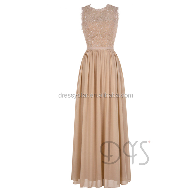 2017 Spring collection floor length a-line lace top bridesmaid dress with keyhole