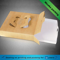 Matchbox style kraft paper pizza box with handle