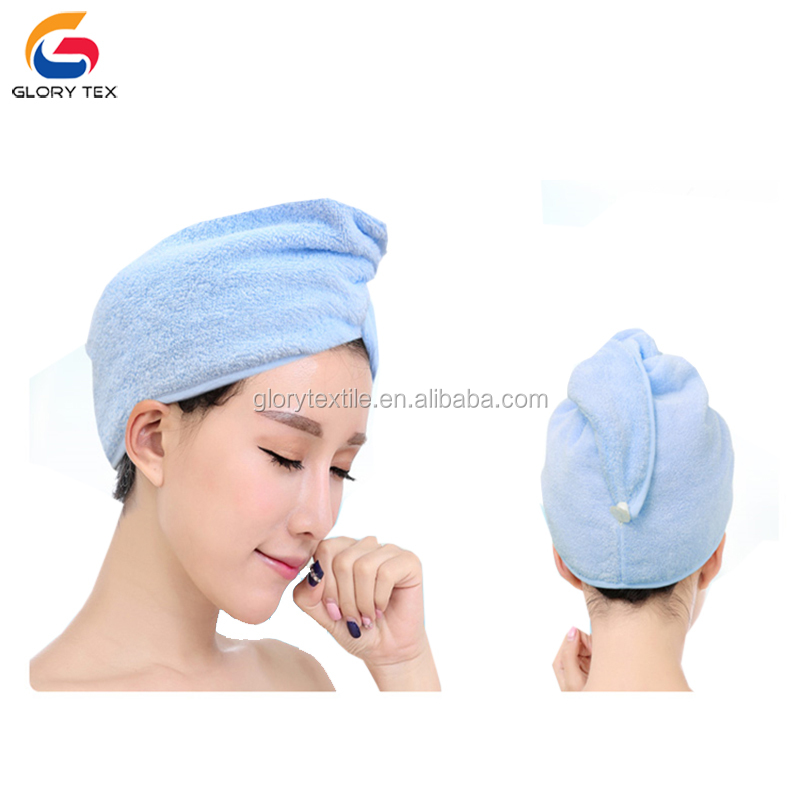 Factory price 100% cotton terry dry hair turban wrap towel