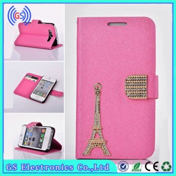 Luxury Mobile Phone Accessory, Eiffel Tower Diamond Leather Case For IPhone 6 Plus ,Cell Phone Accessory Wholesale