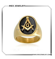 Gold Plated Simulated Onyx Resin Mens Freemason Masonic Ring Stainless Steel
