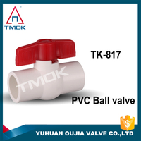 plastic water ball valve butterfly red handle pvc FF thread made in OUJIA VALVE CO.,LTD
