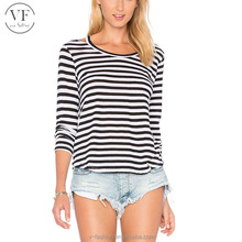 Bulk wholesale casual long sleeve black and white stripe t-shirt for women