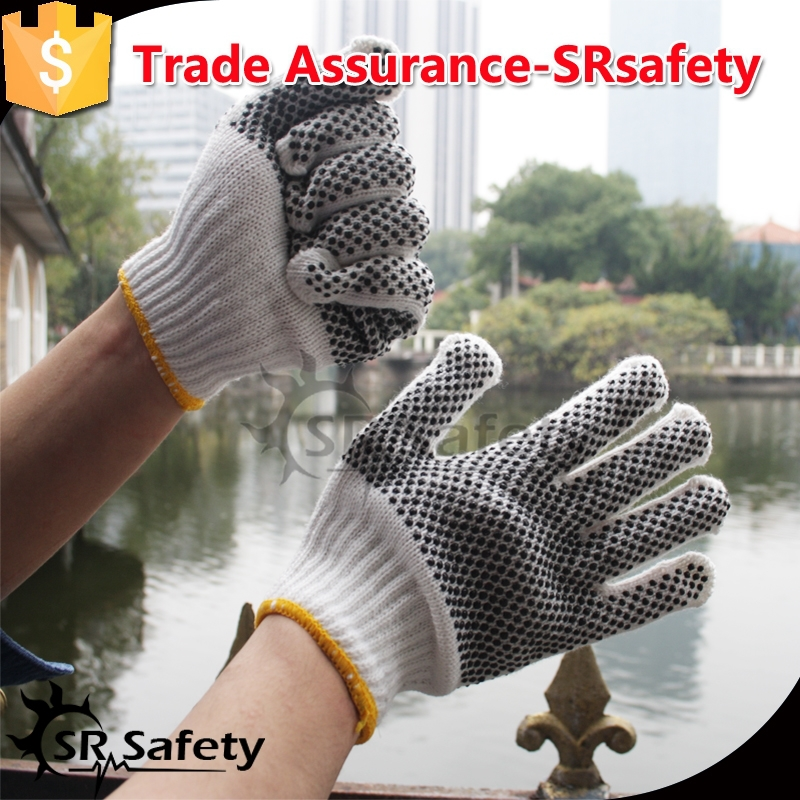 SRsafety Polycotton PVC gloves knitted with white dots on one side/cotton cloth working gloves