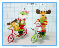 Christmas decoration and gifts for Plush reindeer santa claus ornament riding Metal Trike