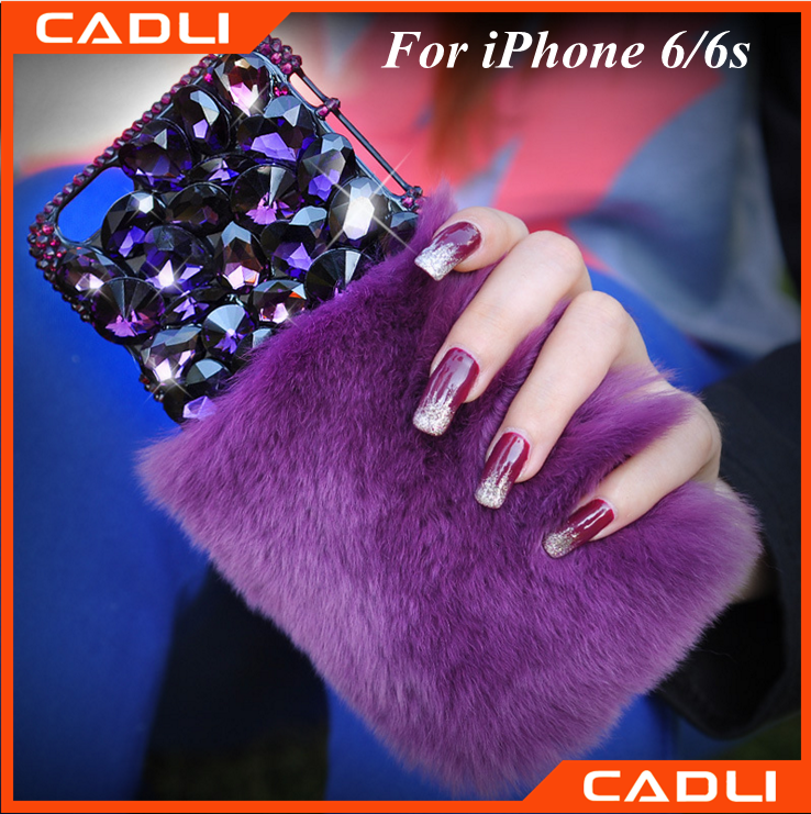 soft purple rabbit bunny fur phone case for iphone 6 with diamond