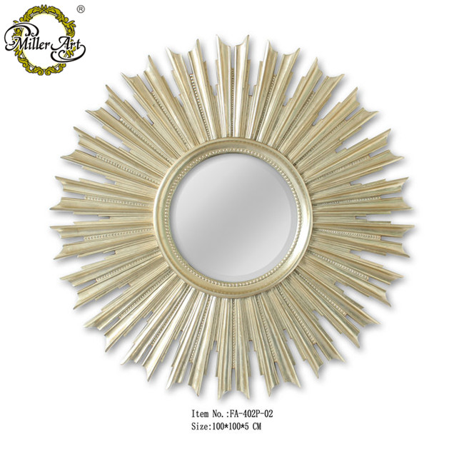 Sunburst Mirror Frame Decorative Wall Round Frame In Silver Leaf ...