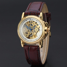 Chinese wholesale automatic movt mechanical skeleton wrist watch for women