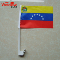Customized printed polyester national car flags double stitched Venezuela car window flag for election