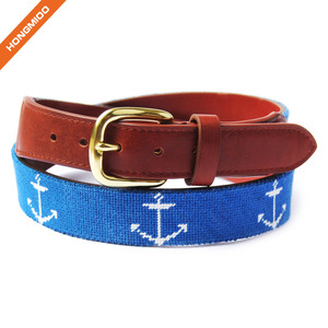 Hongmioo OEM ODM Design Custom Genuine Leather Needlepoint Belt for Men and Women