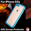New 2 in 1 Luxury Ultra Slim Phone Case for iPhone 5 5S Aluminum Metal Frame + Transparent Acrylic Back Cover Bumper Case