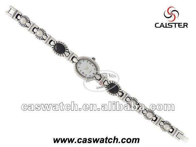 Alloy ladies watch with stone and germ on the chain