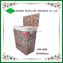 Colored paper laundry basket recycle newspaper basket