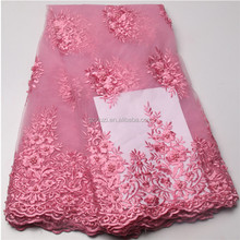 Pink Flower French Lace Fabric Beading Tulle Lace For Bridal Dresses Italy Net Lace Wholesale