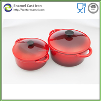 Cast iron pot set red colour well equipped mini cooking pot kitchen brand enamelware