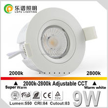 new warm dim fireproof model CCT adjustable led cob downlight with 0-100% dimming design for nordic