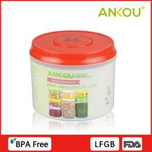 Multi-function One Button Press Open&close PP Material Container , 800ml Round Food Storage Container Red
