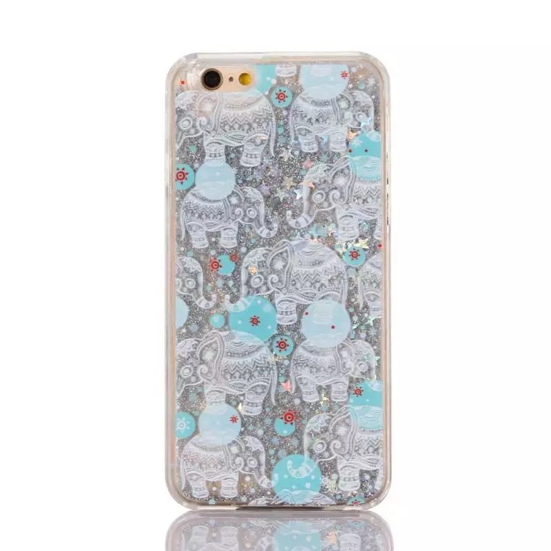 Fashion Glitter Liquid Elephant pattern quicksand Hard PC Plastic phone case cover for iphone 5 5s SE 6 6s 7 8 X plus cases