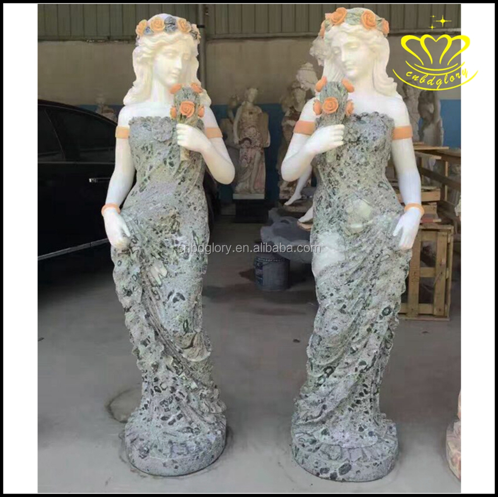 Garden decor Marble stone crafts Beatiful women statues for sale