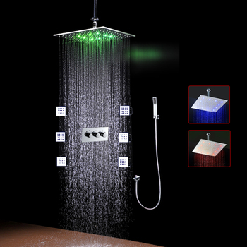 High Quality Bathroom Use LED Lights For Showers 16inch Led body jets shower set square