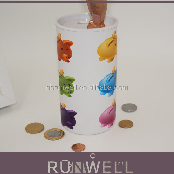 Customized design printing round shape paper material electronic money saving box in money boxes