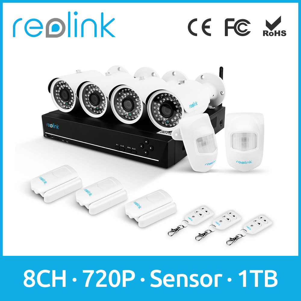 Reolink Surveillance Equipment System 8ch 720P CCTV DVR w Cameras PIR Door Sensors and Remote Control ADK8-10B4