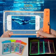 Sealed Transparent Night Light Dry PVC Mobile Cell Phone Waterproof Bag phone case for IPHONE 4 4S 5 5S 6 6S for note
