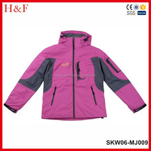 Hot sales high quality hoody breathable and windproof skiwear jacket for women