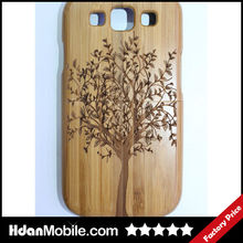 Handmade Craft Wooden Wood Bamboo Shell Case for Samsung Galaxy S3 Bamboo Cover Case